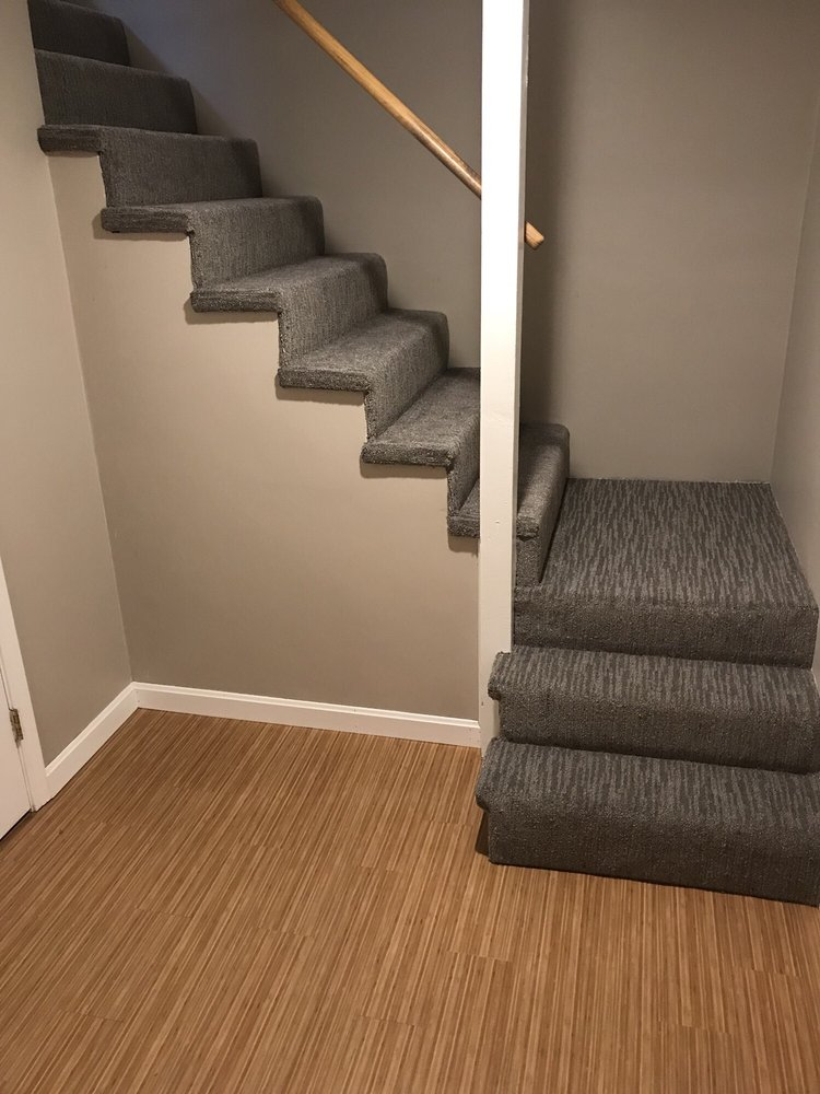 beautiful stairs down to a finished basement carpet installed by michael lincoln from floors and. Black Bedroom Furniture Sets. Home Design Ideas