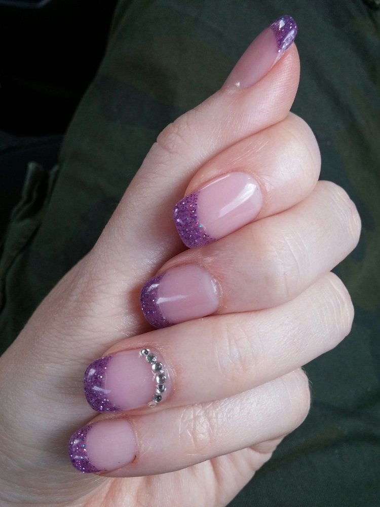 Purple acrylic tips with crystals on my natural nails - Yelp