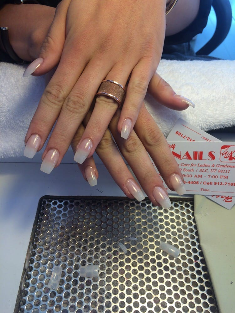 Kim K inspired nails by Teri! Narrow, squared off full acrylic set ...