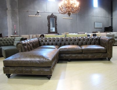 Custom Leather Chesterfield Sectional Yelp
