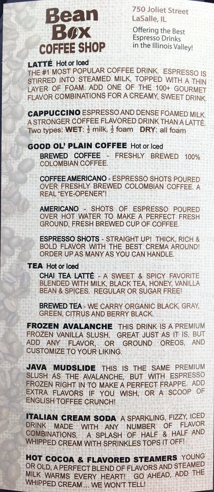 The Bean Box Espresso: 750 Joliet St, LaSalle, IL