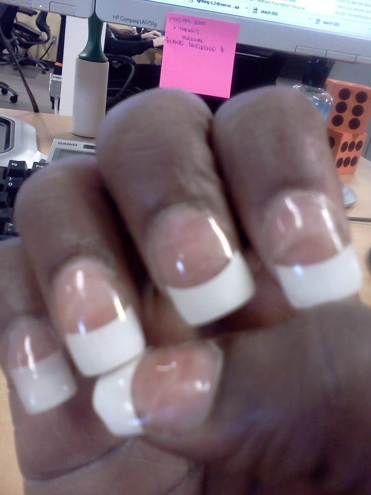 air bubbles after getting a re-fill, pinky nail white tip is longer ...
