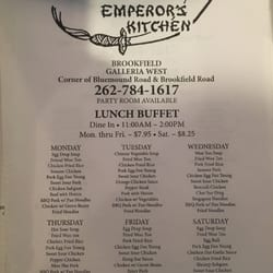 Emperor S Kitchen Menu Brookfield