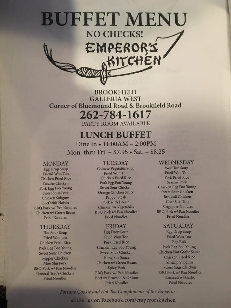 Emperor S Kitchen Buffet Menu