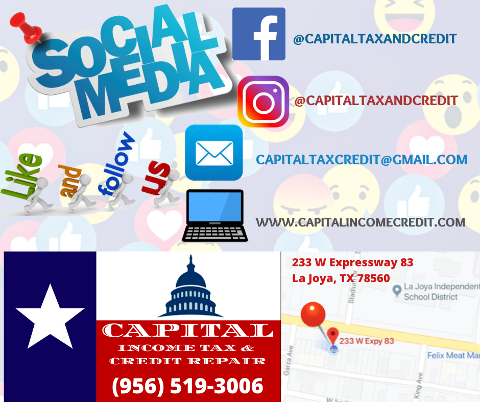 Capital Income Tax and Credit Repair: 233 W Expy 83, La Joya, TX