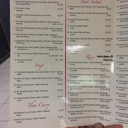 Korat Thai Cafe Menu