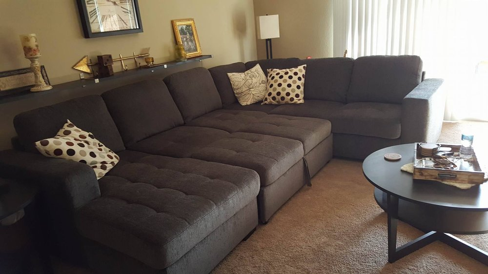 rooms for less furniture 3 sectional she looks great in our living 16992
