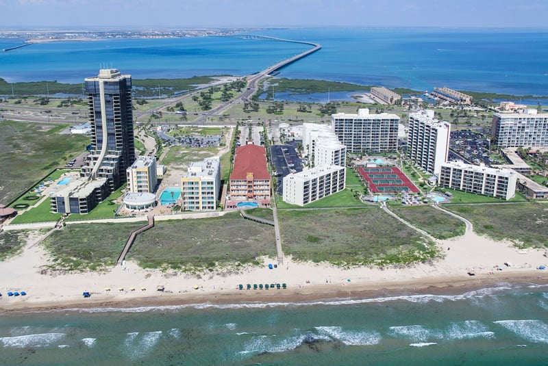 aerial view of the queen isabella causeway and la copa inn. Black Bedroom Furniture Sets. Home Design Ideas