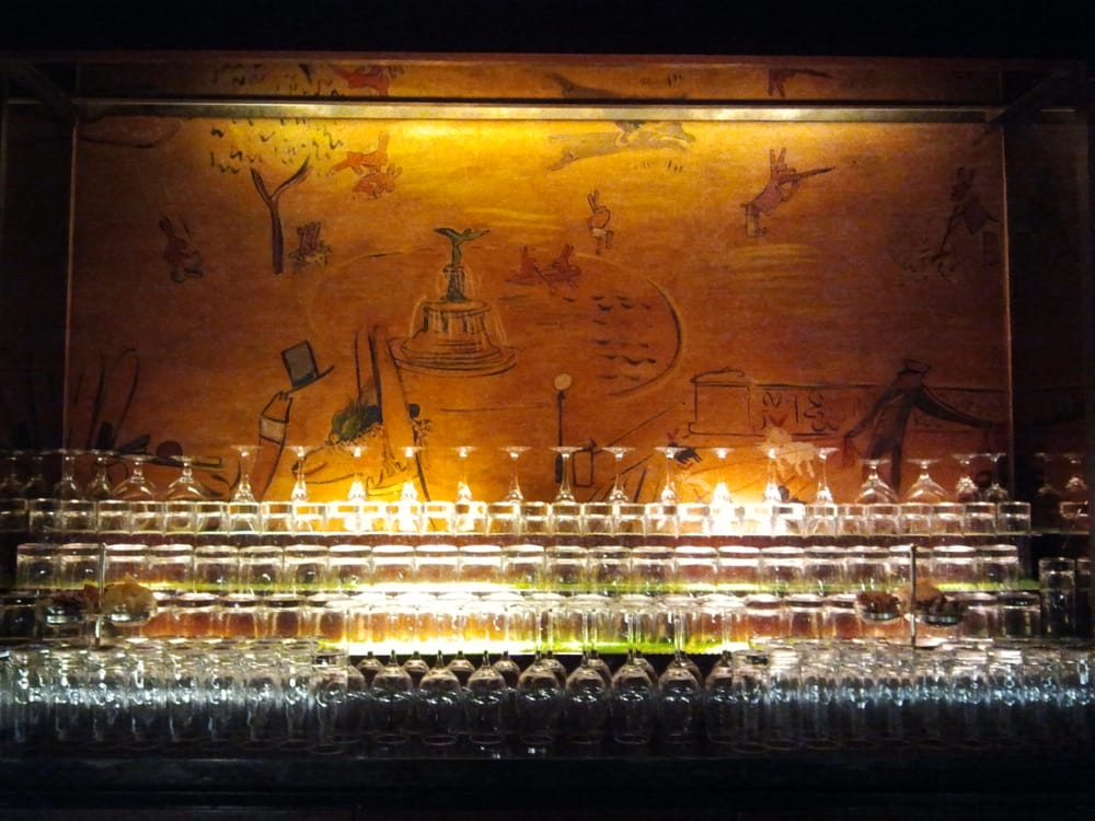 Behind the bar is probably my favorite mural in the bar for Bemelmans bar mural