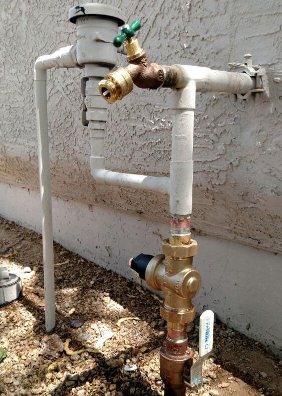 main shut off valve water pressure regulator hose bibb vacuum breaker installation. Black Bedroom Furniture Sets. Home Design Ideas