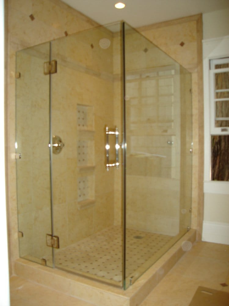 Frameless shower enclosure with door hinged off panel - Yelp