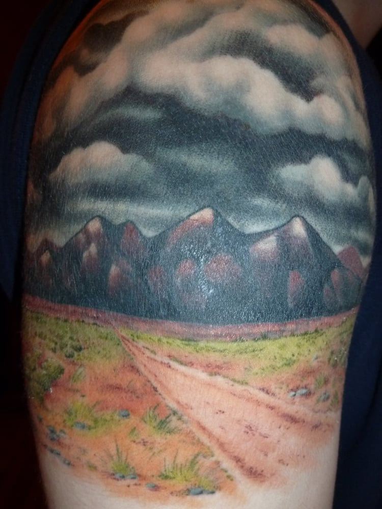 amazing desert landscape done by ian at good faith tattoos this is a cover up and you would. Black Bedroom Furniture Sets. Home Design Ideas