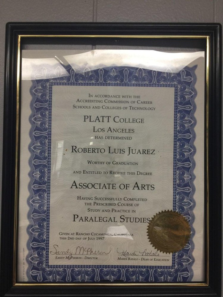 Roberts Paralegal Certificate Platt College Of Los Angeles Yelp