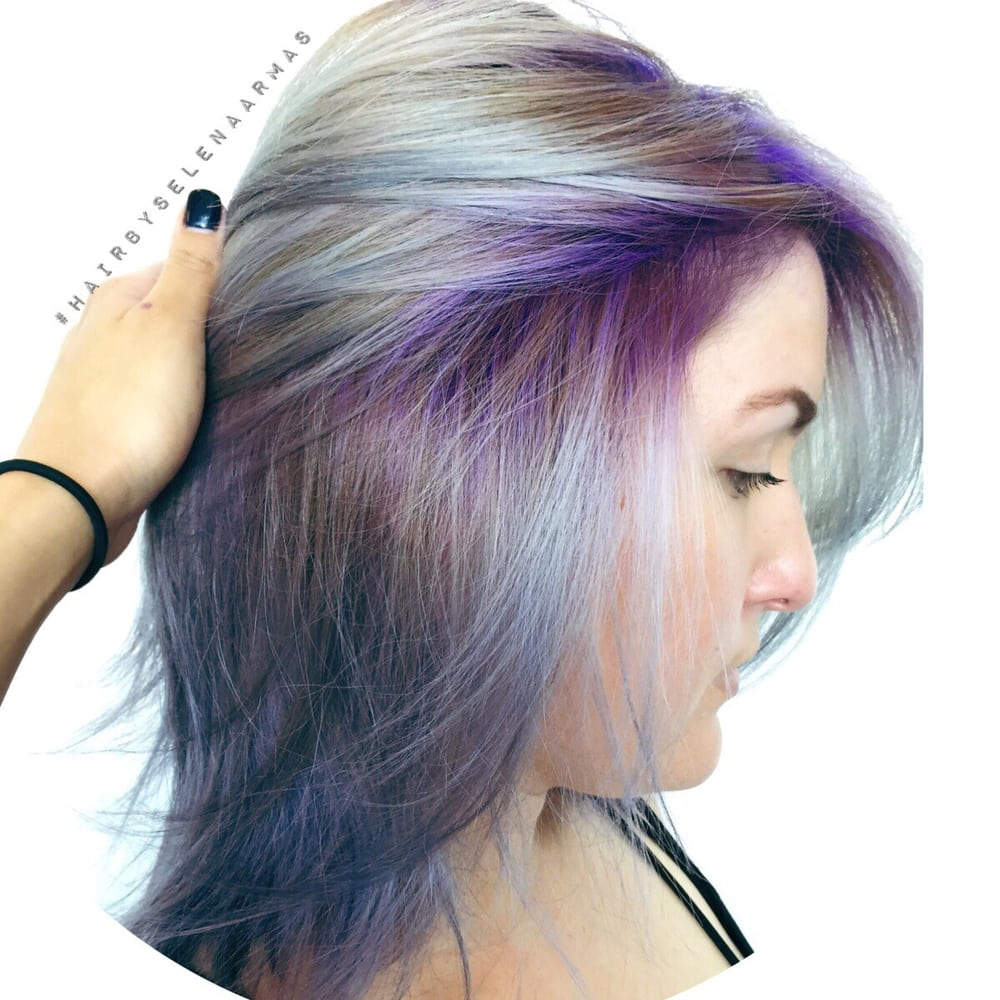 Vibrant Purple Roots To A Beautiful Silver Blonde Yelp