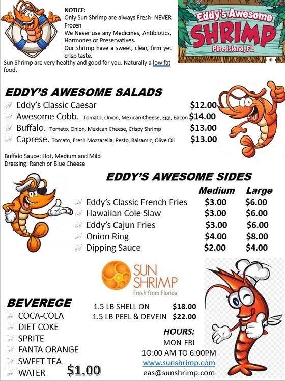 Eddys Awesome Shrimp: 9703 Stringfellow Rd, Saint James City, FL
