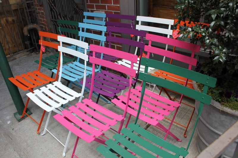 Display of chairs our front i 39 ll take one in every color for John derian dry goods