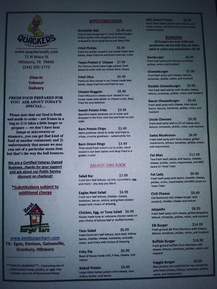 Quackers Cafe & Creamery: 71 N Waco St, Hillsboro, TX