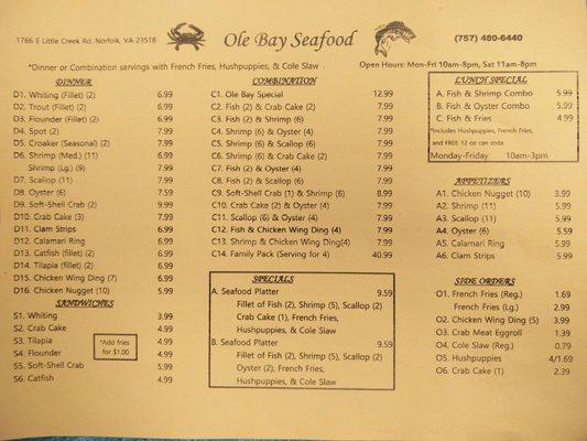 Ole Bay Seafood Seafood 1766 East Little Creek Rd