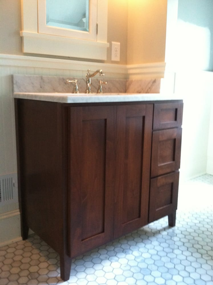 Custom furniture grade vanity yelp for Bathroom cabinets yelp