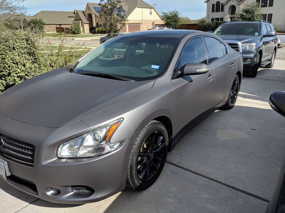 2010 Nissan Maxima Wrapped In Matte Grey With Black Powdered Coated