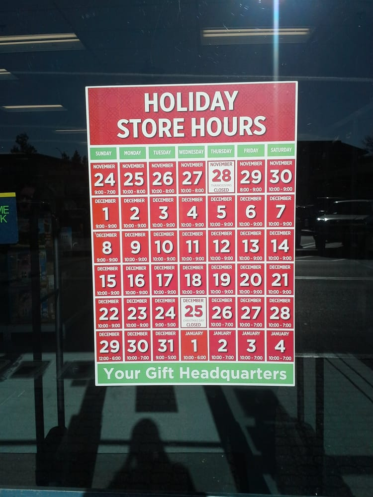 Store Hours Christmas Day | Division of Global Affairs