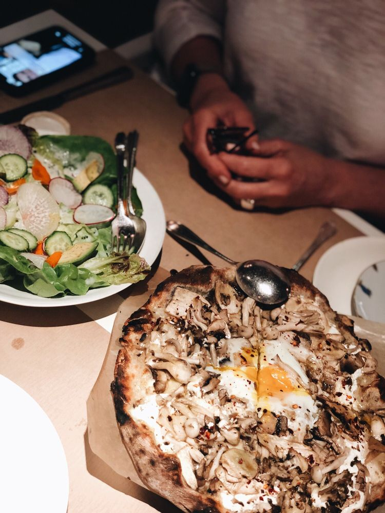 Roasted Carrot And Avocado Salad Mushroom Pizza With Egg Yelp
