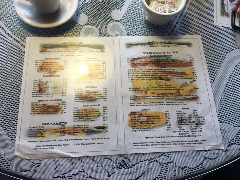 Jefferson S Cafe Montclair Menu