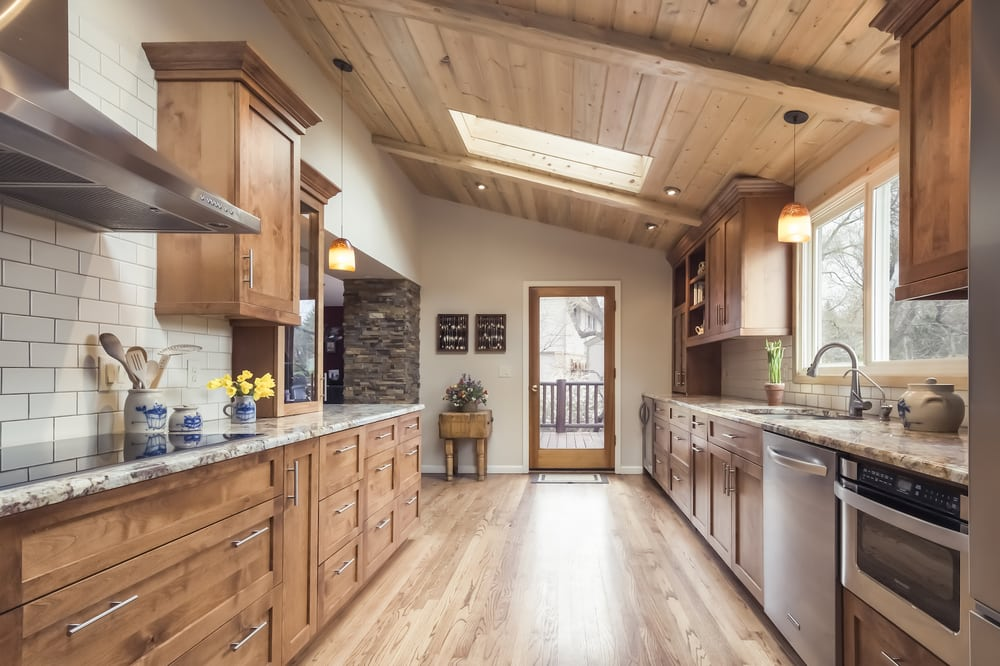 Kitchen Remodeled With Beetle Kill Pine Planked Ceilings