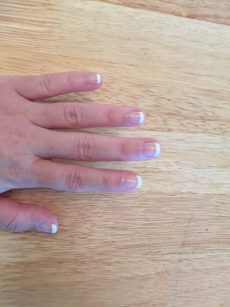 Gel French manicure, day 2, after washing dishes. :-) - Yelp