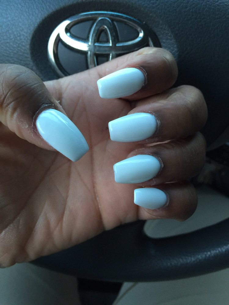 Classic Nails: Coffin Full Set With Gel Color . I Love It First Time