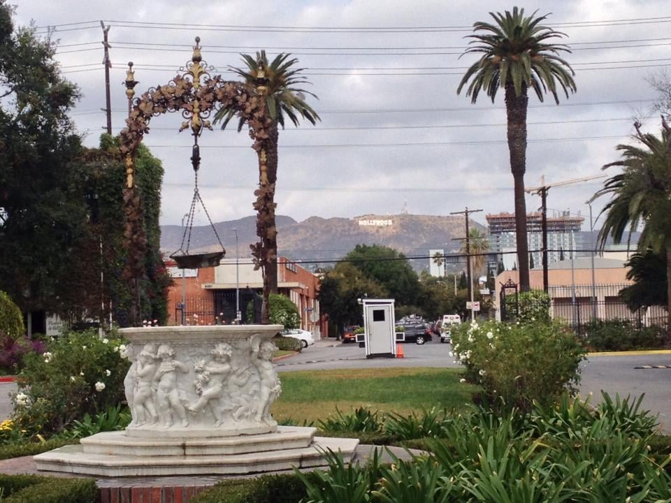 the entrance to the cemetery. You can see the Hollywood ...