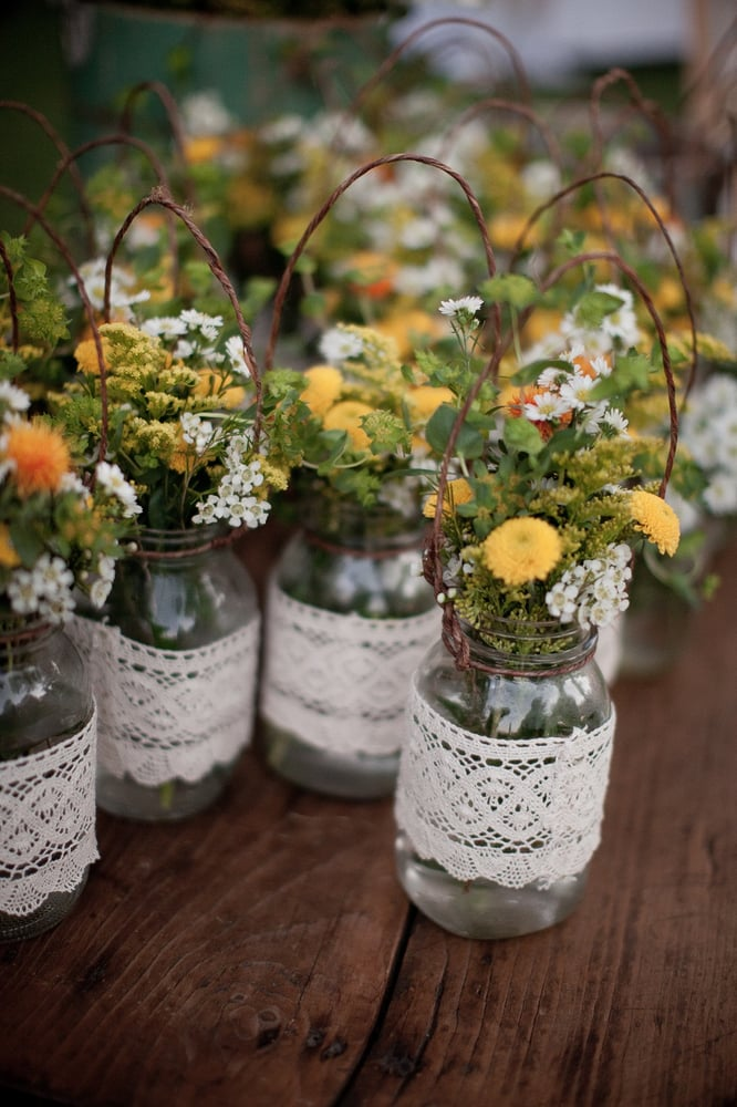 decorated mason jars for weddings our lace wrapped hanging jars gorgeous yelp 3341