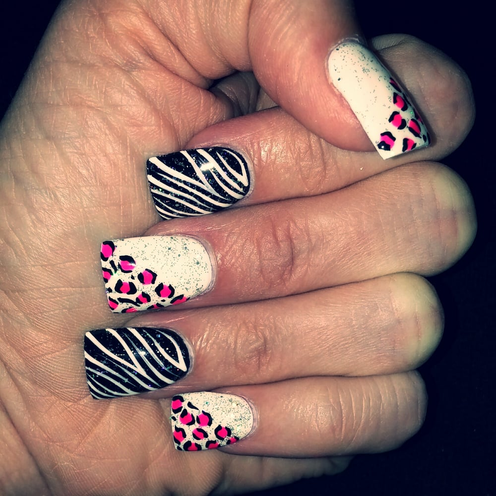Gel Black And White With Sparkle Cheetah And Zebra Design Nails