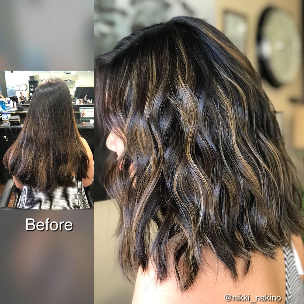 Brunette balayage on lob haircut , Yelp