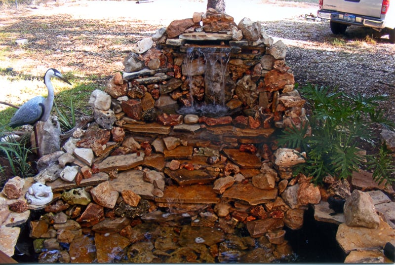 5 foot two tier waterfall in wimberley tx pond features for Tiered pond waterfall