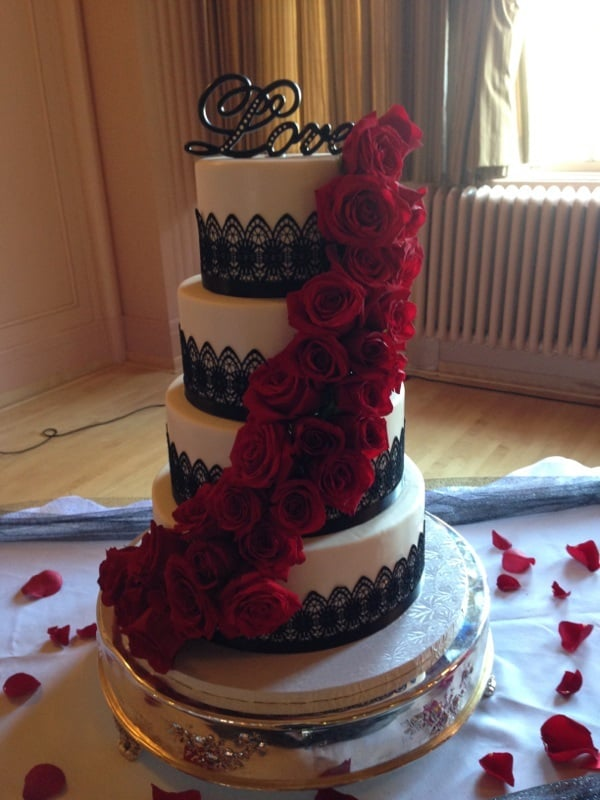 my wedding cake with cascading flowers and lace yelp. Black Bedroom Furniture Sets. Home Design Ideas