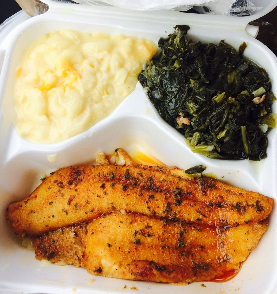 Catfish with mac n cheese and collard greens yelp for Tonys fish market