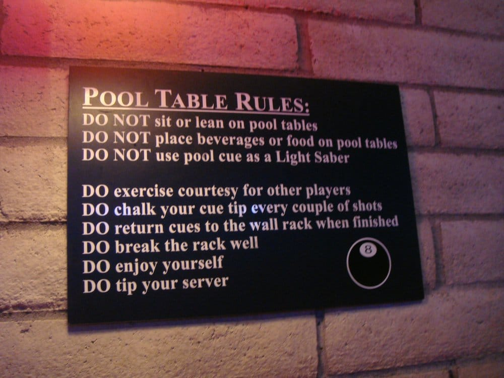 Funny Pool Table Rules Yelp