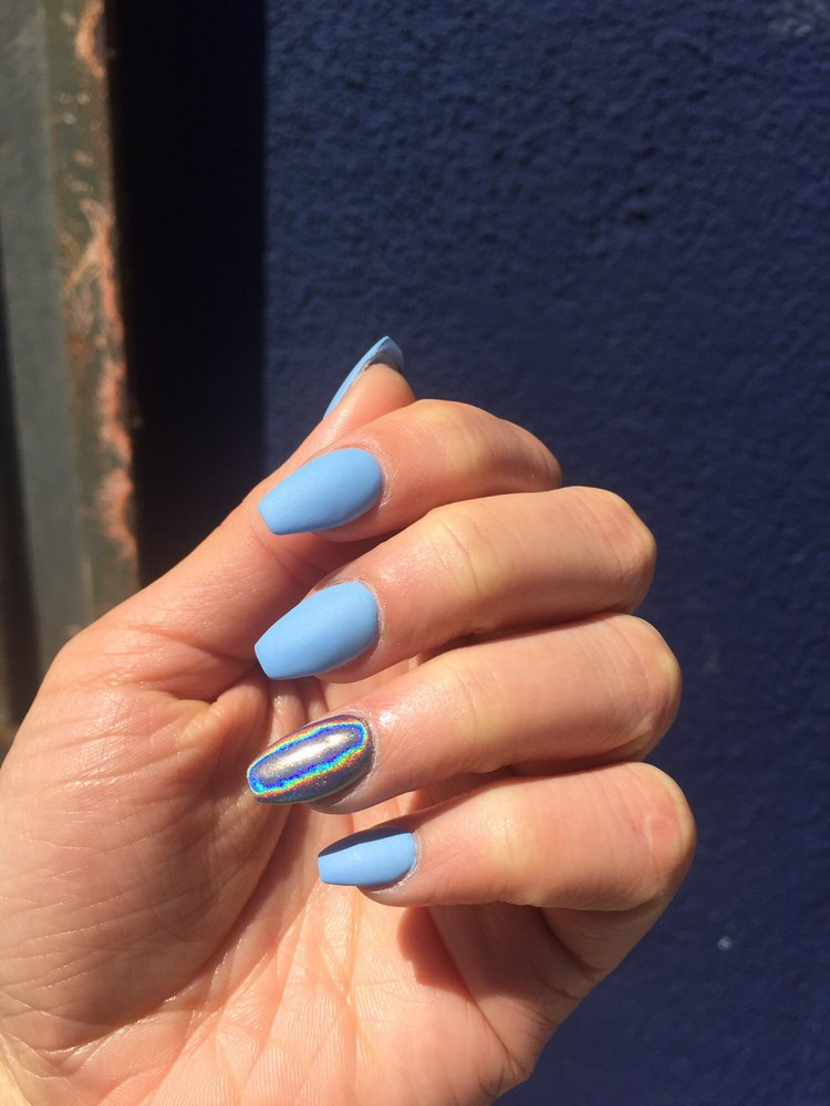 Acrylic fill! Matte baby blue (regular polish) and a holographic ...