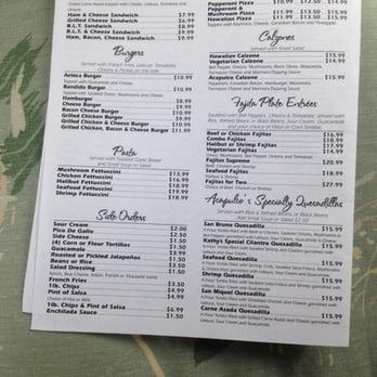 Zibu Restaurant Acapulco Menu