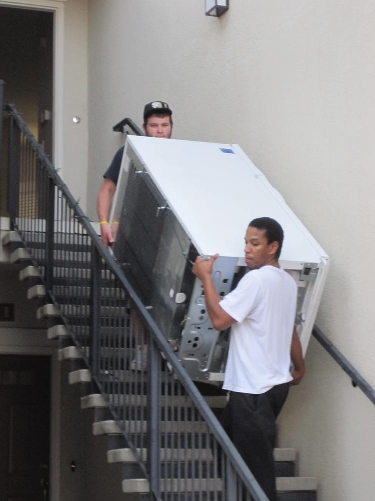 theo and nate move a refrigerator from an upstairs apartment yelp. Black Bedroom Furniture Sets. Home Design Ideas