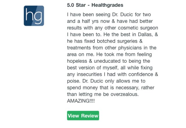 Latest Review For Dr Ducic On Healthgrades 5 Star S Yelp