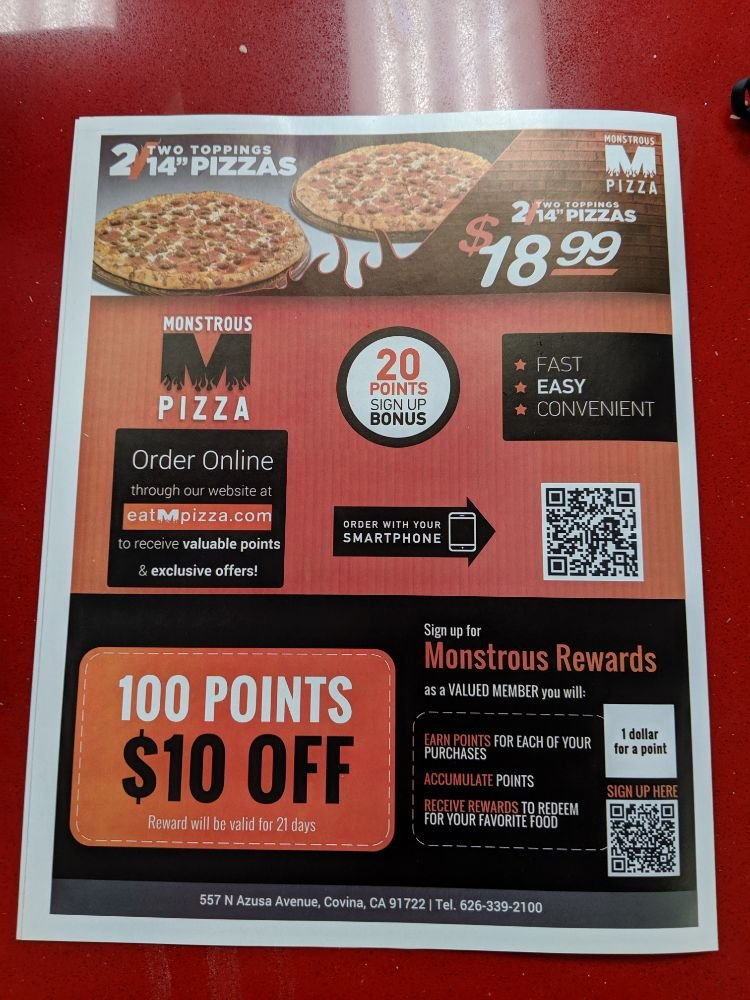 Monstrous Pizza: 557 N Azusa Ave, Covina, CA
