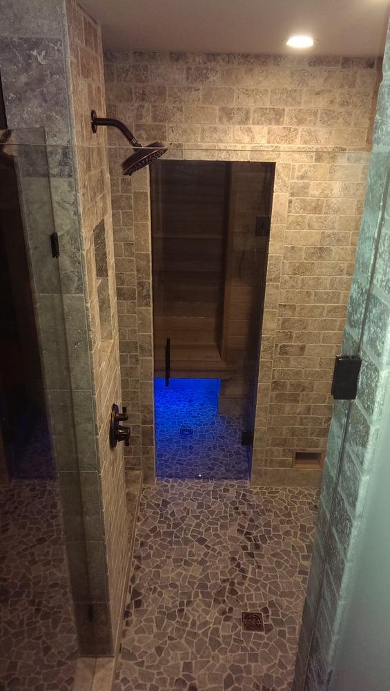 Bathroom Remodeling Voorhees Nj bathroom remodel, bellmawr, nj, open shower, sauna, gray stone