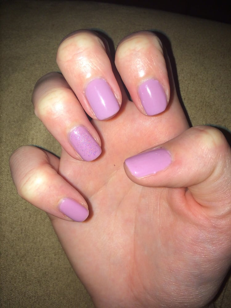 Lavender gel with a glitter accent finger from momo yelp for 33 fingers salon