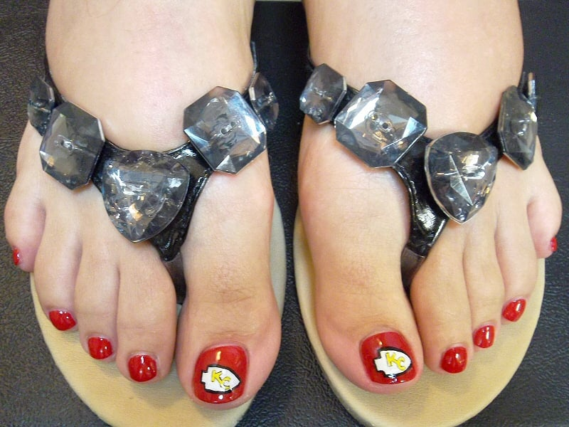 Nail art on toes, KC Chiefs arrowheads - Yelp