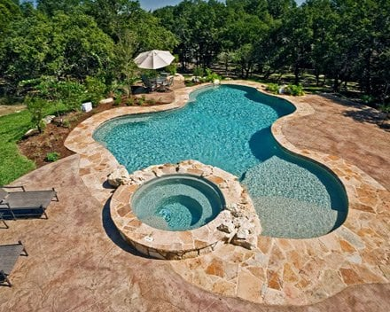 Swimming Pool Deck With Concrete Flagstone Yelp