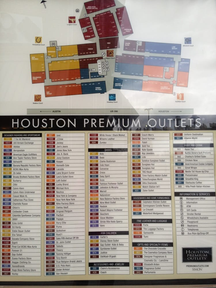 Houston Premium Outlets Map Map of outlet mall   Yelp Houston Premium Outlets Map