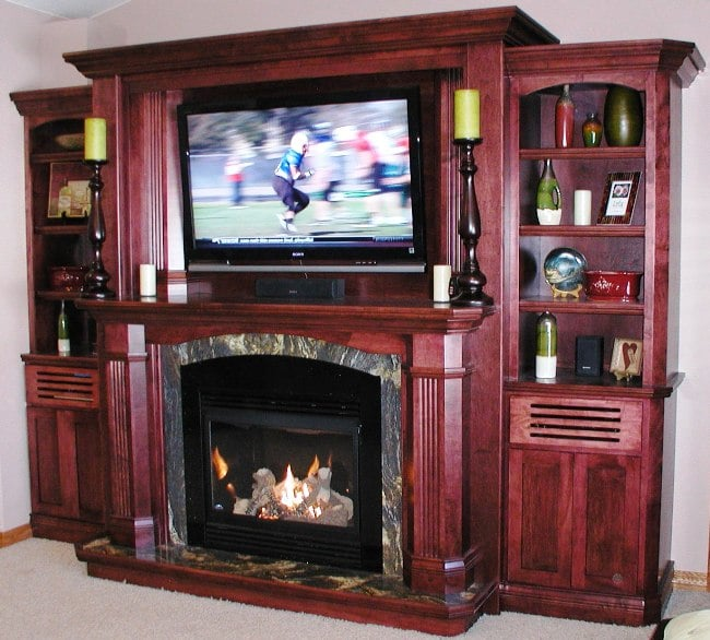 Sarah Check Hearth Cabinet: Bookcase With Gas Fireplace And Hidden Electronic Pockets