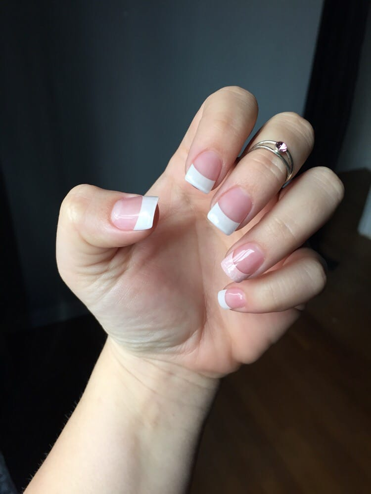 Acrylic French Full Set Just White Tips Not Pink And White Powder